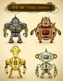 Ensemble de quatre robots de cru illustration stock