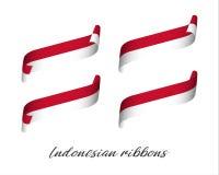 Ensemble de quatre rubans modernes de vecteur de couleur dans des couleurs indonésiennes Photos libres de droits