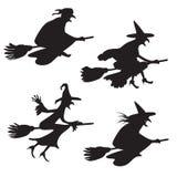 Ensemble de quatre silhouettes des sorcières de vol Photographie stock
