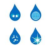 Ensemble de quatre symboles de goutte Photos stock