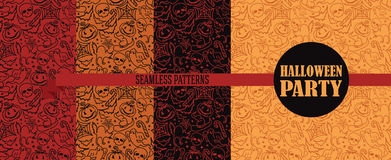 Ensemble de quatre textures sans couture pour Halloween Image stock
