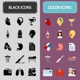 Ensemble de quinze noir et d'icônes de médecine de couleur Photo stock