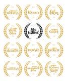 Ensemble de récompenses pour le meilleurs film, acteur, actrice, directeur, musique, photo, gagnant et court-métrage avec la guir illustration libre de droits