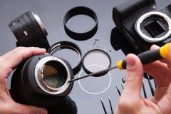 Ensemble de réparation d'objectif de caméra de photo Entretien d'ingénieur photo libre de droits