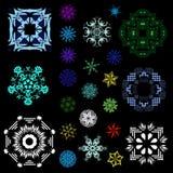 Ensemble de résumé de flocons de neige Images libres de droits