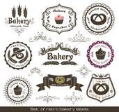 Ensemble de rétro étiquettes de boulangerie de cru illustration stock