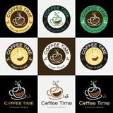 Ensemble de rétro conception de logo de label d'insigne de café Images stock