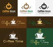 Ensemble de rétro conception de logo de label d'insigne de café Photo stock