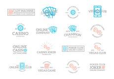 Ensemble de rétro jeu de vintage et logo ou insignes de casino, emblèmes, labels et insignes et d'autres objets de marquage à cha illustration stock