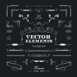 Ensemble de rétro ligne mince linéaire éléments g de vintage de conception d'art déco Illustration Stock