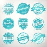 Ensemble de rétros étiquettes de conception de turquoise de cru Photos stock