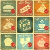 Ensemble de rétros étiquettes de nourriture Photo stock