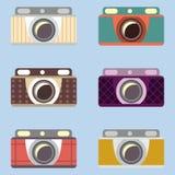Ensemble de rétros appareils-photo Conception plate Photographie stock libre de droits