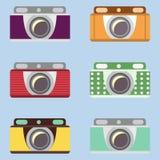 Ensemble de rétros appareils-photo Conception plate Images libres de droits