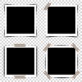 Ensemble de rétros cadres de photo avec des ombres Illustration de vecteur illustration stock