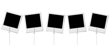 Ensemble de rétros cadres de photo avec des supports pour la photo sur le Ba blanc illustration de vecteur