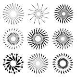 Ensemble de rétros formes d'éclat de Sun de brosse Logo de vintage, labels, insigne Photo libre de droits