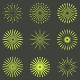 Ensemble de rétros formes d'éclat de Sun de brosse Logo de vintage, labels, insigne Photos libres de droits