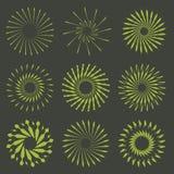 Ensemble de rétros formes d'éclat de Sun de brosse Logo de vintage, labels, insigne Photographie stock