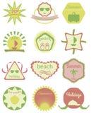 Ensemble de rétros insignes d'été, de rubans et de hippie de labels illustration de vecteur