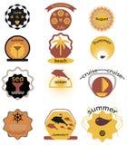 Ensemble de rétros insignes d'été, de rubans et de hippie de labels Images libres de droits