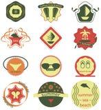 Ensemble de rétros insignes d'été, de rubans et de hippie de labels illustration stock