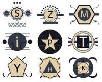 Ensemble de rétros insignes, de rubans et de labels de vintage de hippie illustration stock