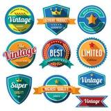 Ensemble de rétros insignes et de labels de vintage. Conception plate avec long SH Photo libre de droits