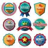 Ensemble de rétros insignes et de labels de vintage. Conception plate avec long SH Photos stock