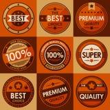 Ensemble de rétros insignes et de labels de vintage. Style plat Photographie stock