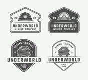 Ensemble de rétros insignes et de labels de logo d'exploitation ou de construction Photo libre de droits