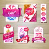 Ensemble de rétros labels, de rubans et de cartes de boulangerie pour la conception Images libres de droits