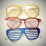 Ensemble de rétros lunettes de soleil Photographie stock