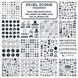 Ensemble de rétros signes de vecteur faits dans le style d'art de pixel Geo différent illustration stock