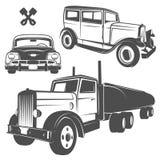 Ensemble de rétros voitures pour des emblèmes, le logo et des labels Images libres de droits