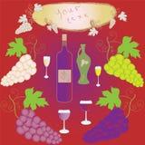 Ensemble de raisins, de verre à vin, de bouteille et de trame Photographie stock