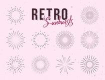 Ensemble de rayons de soleil linéaires de vintage Images stock
