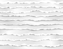 Ensemble de rayures de papier déchirées Texture de papier abstraite avec le bord endommagé Illustration de vecteur d'isolement su illustration stock