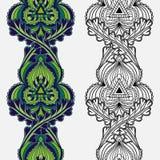 Ensemble de rayures verticales florales ethniques ornementales sans couture illustration de vecteur