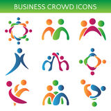 Ensemble de relation d'affaires de foule d'icônes Illustration illustration stock