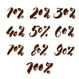 Ensemble de remise de pour cent de nombres à vendre l'inscription manuscrite Inscription élégante D'isolement sur le fond blanc Image libre de droits