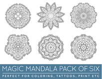 Ensemble de ressembler ethniques de Mandala Vector Meditation Tattoo de fractale au flocon de neige ou la Maya Aztec Pattern ou l Photo stock