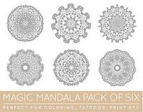 Ensemble de ressembler ethniques de Mandala Vector Meditation Tattoo de fractale au flocon de neige ou la Maya Aztec Pattern ou l illustration de vecteur