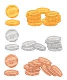 Ensemble de ressources colorées en métal de bande dessinée, pièces de monnaie d'or, bronze et argent pour la conception des jeux  illustration stock