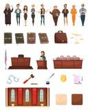 Ensemble de Retro Cartoon Icons de justice de loi Illustration Stock