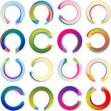 Ensemble de Ring Circle Arc Swirl Multicolor de label d'autocollant de médaille Image libre de droits