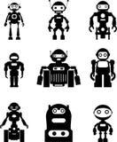 Ensemble de robots de silhouette Images libres de droits