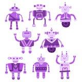 Ensemble de robots mignons de couleur différente Illustration de vecteur Photo stock