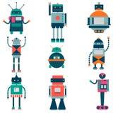 Ensemble de robots de vecteur dans le style de bande dessinée Robots d'isolement de vecteur à un arrière-plan blanc illustration stock