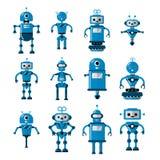 Ensemble de robots de vecteur dans le style plat de bande dessinée Intelligence artificielle de caractère robotique mignon de ban illustration de vecteur
